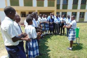 The Water Project: Friends Secondary School Shirugu -  Lydia Leads Handwashing Demonstration