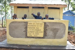 The Water Project: St. Peter's Khaunga Secondary School -  Smiles And Thumbs Up For New Latrines
