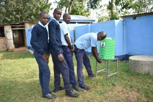 The Water Project: St. Peter's Khaunga Secondary School -  Boys At Their New Handwashing Station