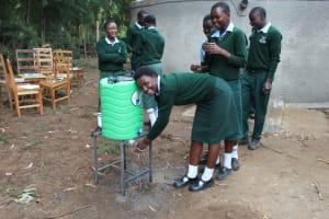 The Water Project: Friends Kuvasali Secondary School -  Girls Using A Handwashing Point