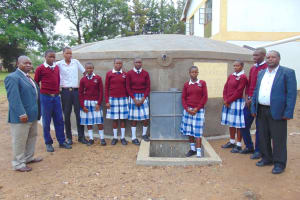 The Water Project: Friends Secondary School Shirugu -  Students And Staff Formally Pose At The Tank
