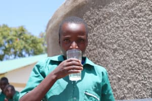 The Water Project: Friends School Mahira Primary -  Drinking From The New Water Point