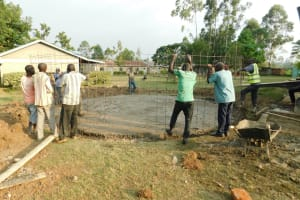The Water Project: Makale Primary School -  Erecting Tank Wall Skeleton