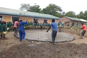 The Water Project: Friends School Mahira Primary -  Students Watch Wire Placement Over Foundation