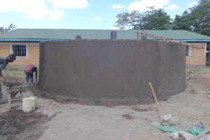 The Water Project: Friends School Mahira Primary -  Cementing Outer Walls
