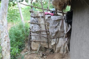 The Water Project: Litinye Community, Shivina Spring -  Bathing Room Made Of Sticks And Bags