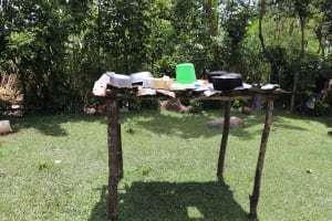 The Water Project: Mahira Community, Litinyi Spring -  Outside Dishrack