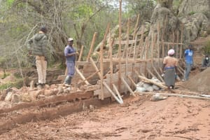 The Water Project: Katovya Community -  Scaffolding For The Dam