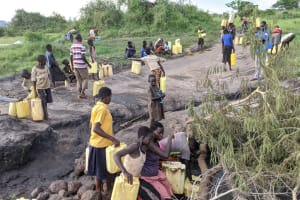 The Water Project: Alero B Community -  Fetching Water At The Scoop Hole