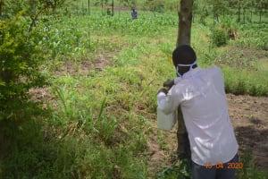 The Water Project: Eshiakhulo Community, Asman Sumba Spring -  Installing The Handwashing Station At The Spring