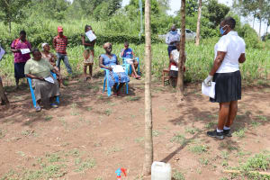 The Water Project: Shitoto Community, Abraham Spring -  Participants Observe Social Distancing
