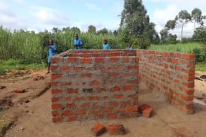 The Water Project: St. Michael Mukongolo Primary School -  Latrine Wall Construction