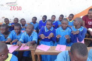 The Water Project: St. Michael Mukongolo Primary School -  Learning Handwashing Steps