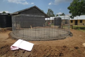 The Water Project: St. Gerald Mayuge Secondary School -  Concrete Foundation Sets With Wire Skeleton In Place