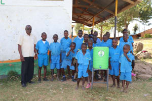 The Water Project: St. Michael Mukongolo Primary School -  The Gents With Head Teacher Mutende And A Handwashing Station