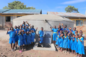 The Water Project: St. Michael Mukongolo Primary School -  Pupils Celebrate The Tank