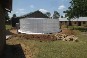 The Water Project: St. Gerald Mayuge Secondary School -  Sacks Knitted Around The Tank