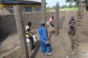 The Water Project: St. Michael Mukongolo Primary School -  Casting Pillars Inside The Tank