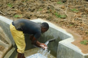 The Water Project: Shikangania Community, Abungana Spring -  Enjoying Flowing Water