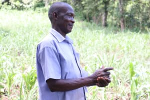 The Water Project: Ewamakhumbi Community, Yanga Spring -  Mr Ayub Was Happy To Try