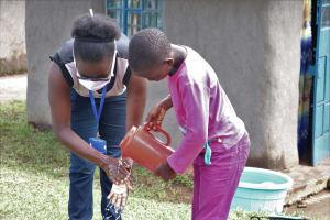 The Water Project: Elutali Community, Obati Spring -  Handwashing Demonstration