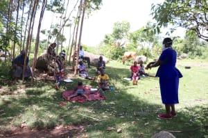 The Water Project: Shirugu Community, Shapaya Mavonga Spring -  Community Participation In Handwashing Activity