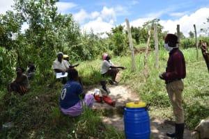 The Water Project: Ingavira Community, Laban Mwanzo Spring -  Social Distancing