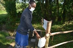 The Water Project: Bukhaywa Community, Ashikhanga Spring -  Improvised Handwashing Point