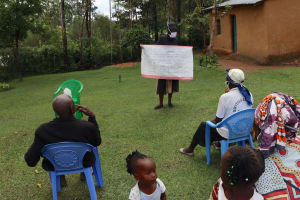 The Water Project: Shitungu Community, Hessein Spring -  Use Of Caution Chart At The Training