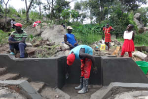 The Water Project: Mahira Community, Kusimba Spring -  Head Wall Plastering