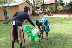 The Water Project: Shitungu Community, Hessein Spring -  Handwashing Was Highlighted As An Important Practice In Keeping The Virus Away