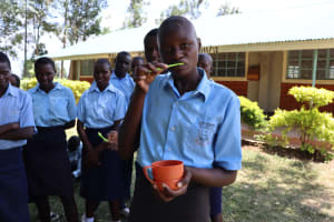The Water Project: Friends School Vashele Secondary -  Sarah Demonstrates Teeth Brushing
