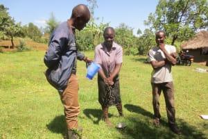 The Water Project: Mahira Community, Jairus Mwera Spring -  Handwashing Practical Session