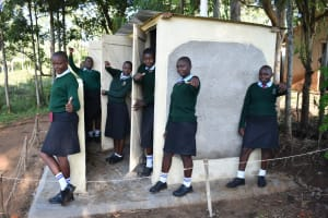 The Water Project: Ebubole UPC Secondary School -  Girls Posing At Their New Latrines