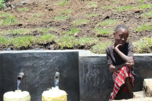 The Water Project: Mahira Community, Jairus Mwera Spring -  Collecting Water Is Easy And Hands Free