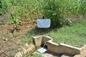 The Water Project: Musango Community, Jared Lukoko Spring -  Holding The Reminder Chart At The Spring