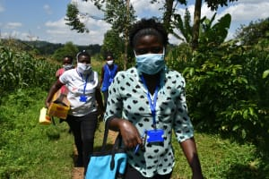 The Water Project: Musango Community, Ham Mwenje Spring -  Facilitators Arrive In A Community