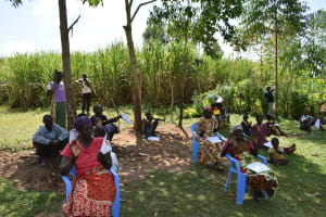 The Water Project: Musango Community, Ham Mwenje Spring -  Participants Practice New Ways Of Greetings