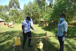 The Water Project: Musango Community, Mwichinga Spring -  A Tippy Tap Handwashing Station