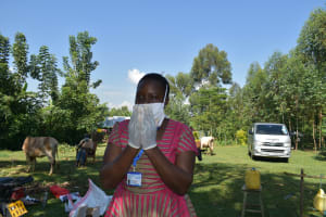 The Water Project: Musango Community, Mwichinga Spring -  Demonstration Of Proper Mask Wearing