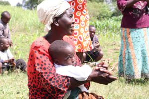 The Water Project: Mukhuyu Community, Kwawanzala Spring -  Even The Young Mothers Were Happy To Be Part Of The Exercise