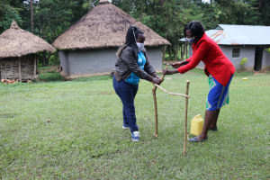 The Water Project: Bung'onye Community, Shilangu Spring -  Setting Up Handwashing Station