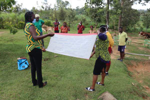 The Water Project: Emurumba Community, Makokha Spring -  A Sack With Covid Information Used To Expound On The Training