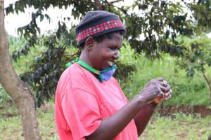 The Water Project: Futsi Fuvili Community, Shikanga Spring -  The Village Head Was Happy To Demonstrate Handwashing