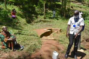 The Water Project: Elunyu Community, Saina Spring -  Mr Wilson Conducting The Covid Sensitization For Saina Spring