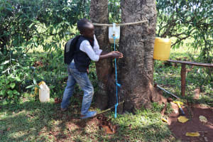 The Water Project: Mtao Community, Tifina Odari Spring -  Installing Handwashing Point In The Community