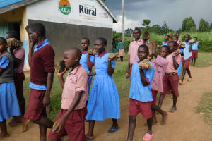 The Water Project: Mukoko Baptist Primary School -  Pupils Ferrying Hardcore For Construction Before Schools Closed