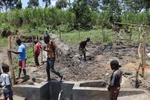 The Water Project: Mukhonje Community, Mausi Spring -  Soil Backfilling