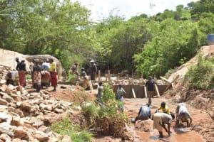 The Water Project: Nzimba Community -  Dam Wall Progress