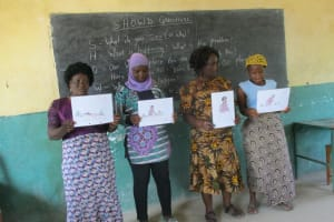 The Water Project: Lungi, Madina, St. Mary's Junior Secondary School -  Participants Displaying And Explaining Disease Transmission Story Posters